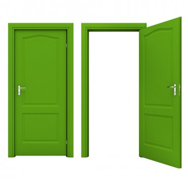 Open green door isolated on a white background