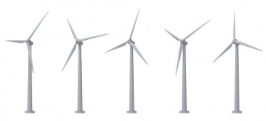 Wind turbines isolated on white background stock vector