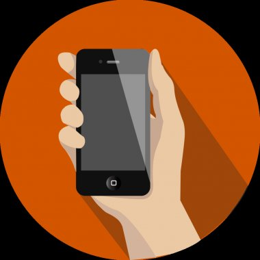 Hand phone flat icon clip art vector