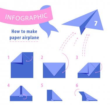 Infographic. Instructions to make paper airplane. Blue and pink. Vector illustration