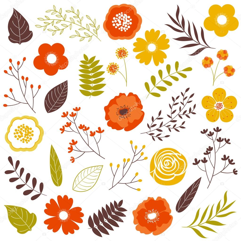 vector fall flowers ⬇ vector image by © marlenes9 | vector stock 121123648  depositphotos