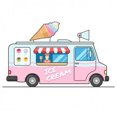 Ice cream truck, side view