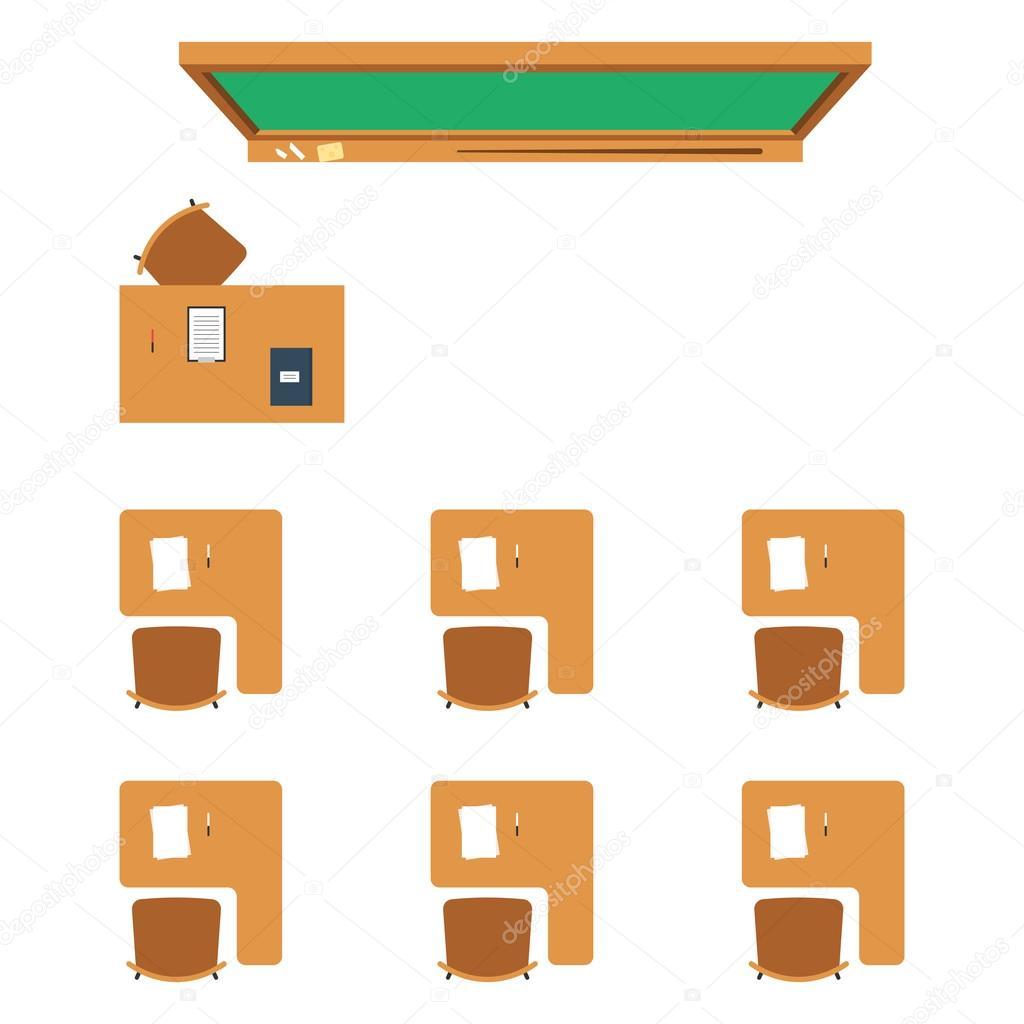 Vue de dessus de salle de classe cole image vectorielle Table vue de haut