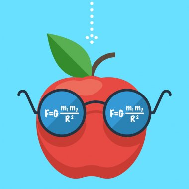 Apple with glasses, concept