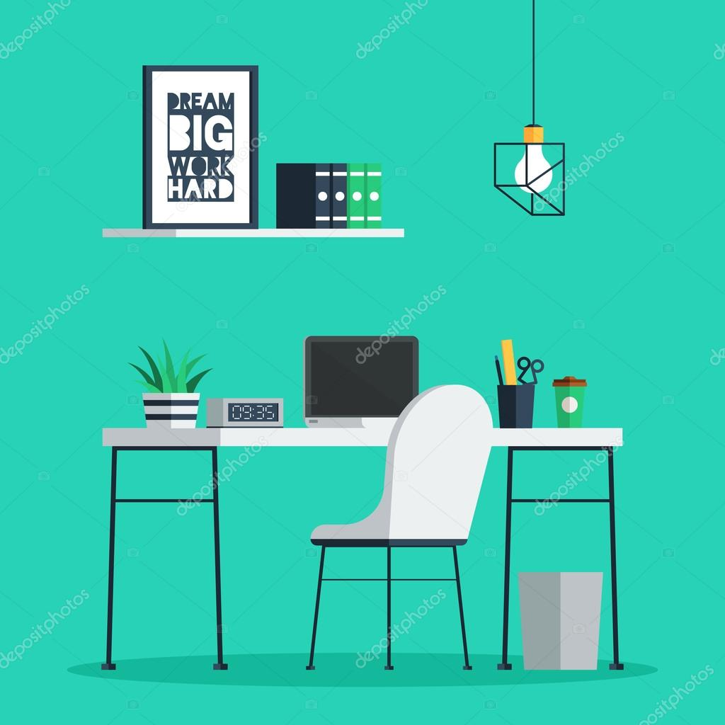 Workplace Freelance Interior With Laptop, Clock, Coffee Cup And Plant On  Desk, Home Office. Trendy Vector Illustration In Flat Design For Web Banner  And ...