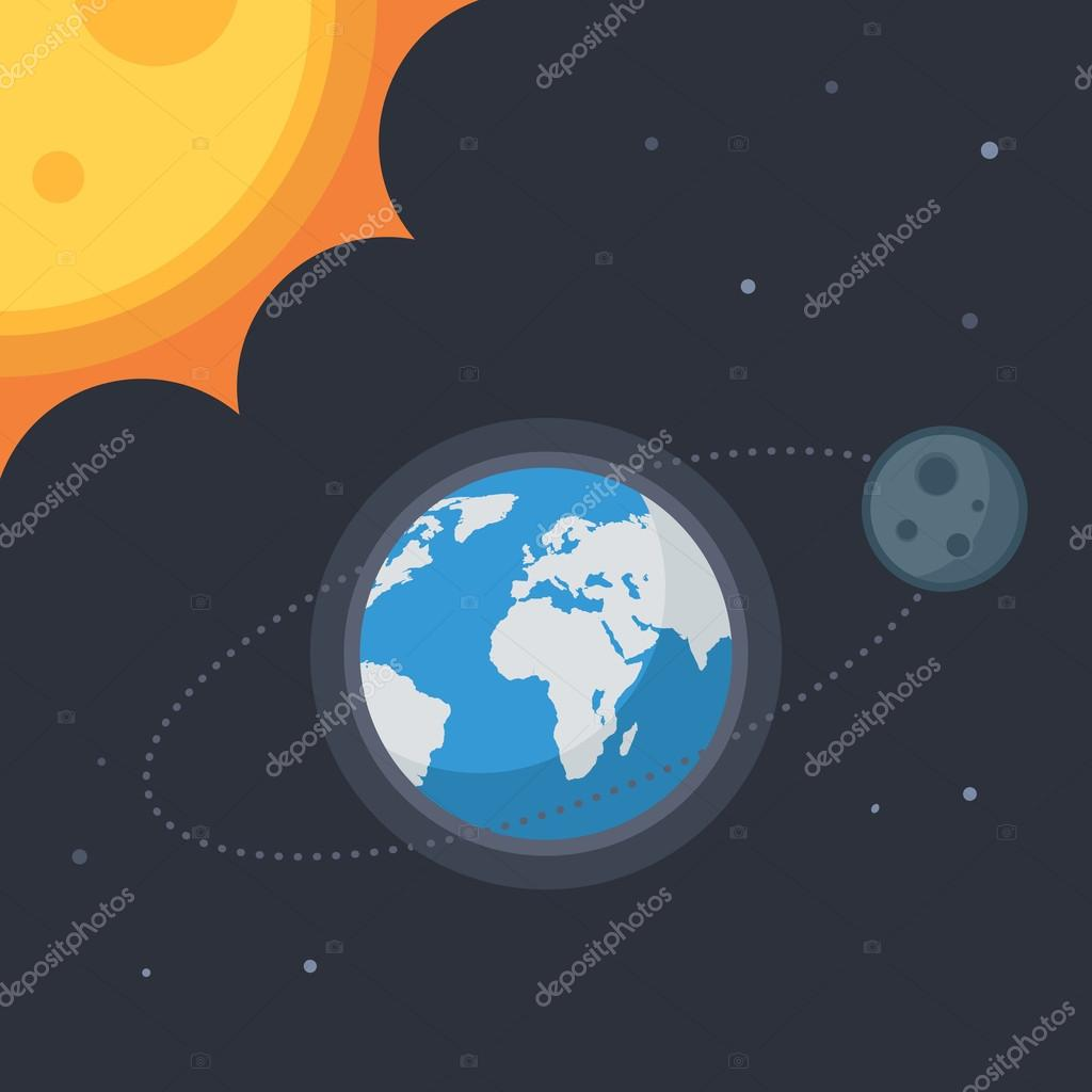 b8b150221b γη με τη Σελήνη και ήλιος — Διανυσματικό Αρχείο © EgudinKa  120945126