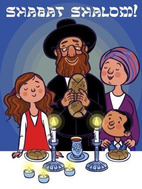 Happy shabat greeting card. Vector illustration