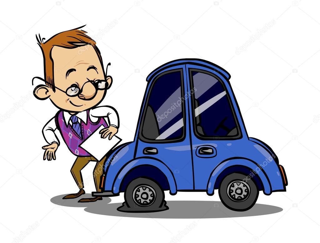Insurance agent inspects a broken car. Vector illustration ...