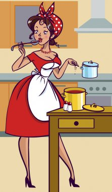 Funny vector cartoon colorfull girl in pin-up style isolated bac