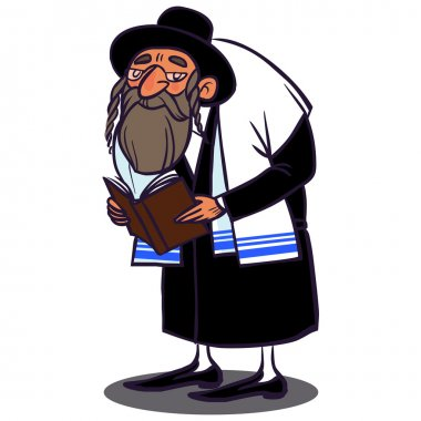 JewJew dressed in a talit prays. vector illustration isolated background stock vector