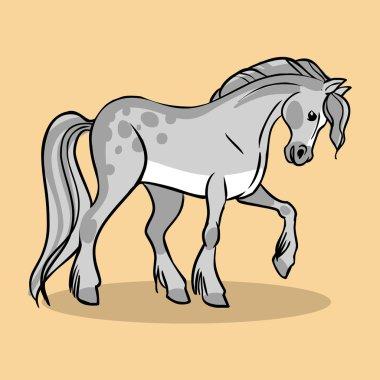 Funny vector cartoon horse
