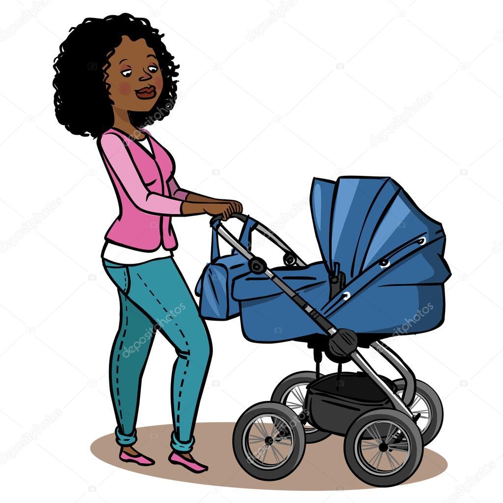 mãe de desenho animado com carrinho de bebê ilustração vetorial