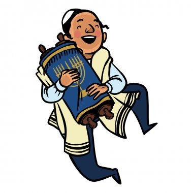 Funny cartoon dancing jewish boy. Vector illustration