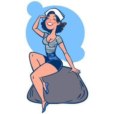 Vector funny cartoon sailor girl