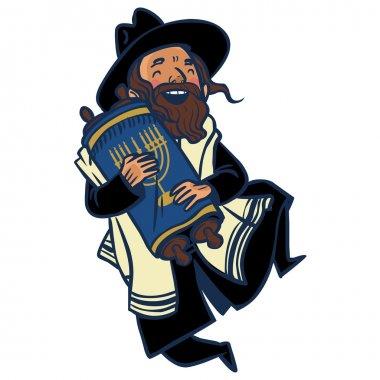 Funny cartoon jewish man dancing with Torah. Vector illustration isolated backgroun stock vector