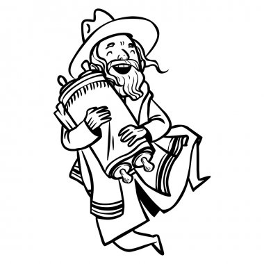 Funny cartoon jewish man dancing with Torah. Vector illustration