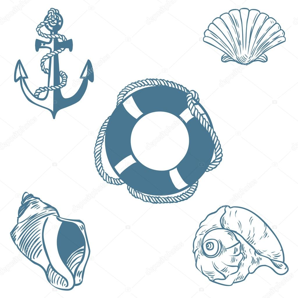 Vector set of sea elemants