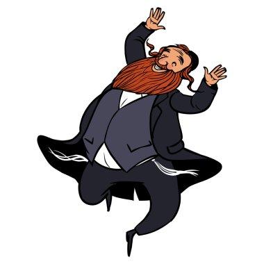 Funny cartoon jewish man dancing. Vector illustration isolated backgroun stock vector