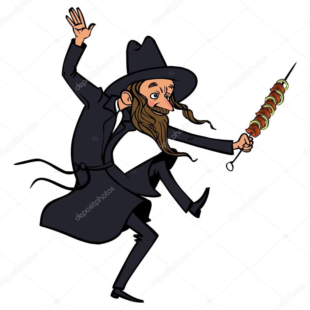 funny cartoon jewish man dancing vector illustration