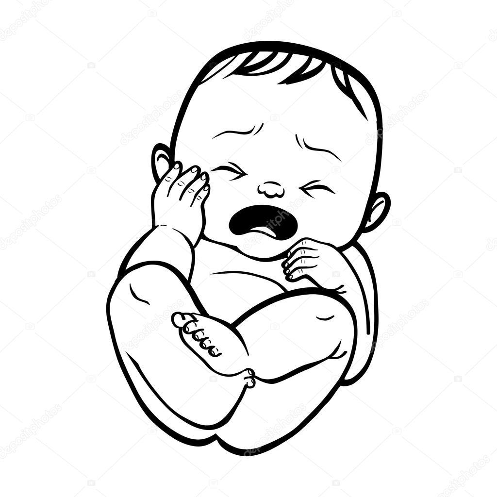 Animado Bebe Llorando Para Colorear Recién Nacido Bebé Llorando