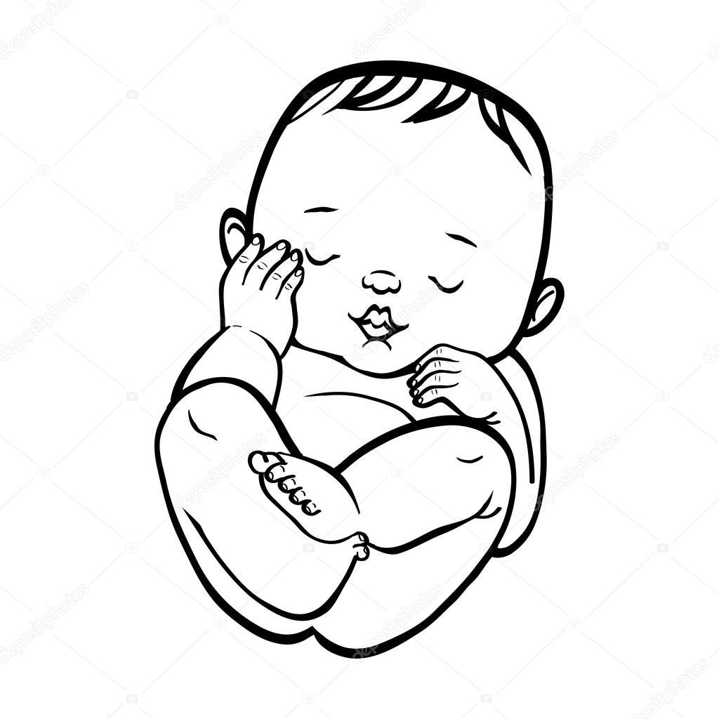 Illustrazione Caricatura Neonato Bambino Piccolo Neonato