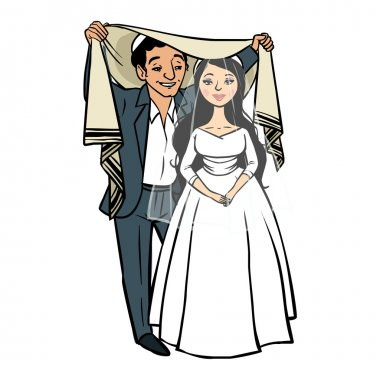 jewish newlyweds.vector illustration