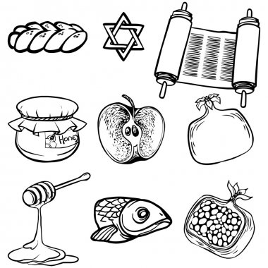 Symbols of Rosh Hashanah (Jewish New year). vector illustration