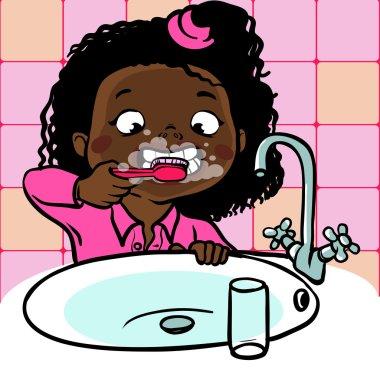 funny cartoon girl  brushing her teeth. vector illustration
