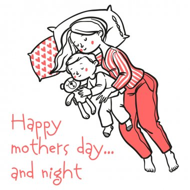 Funny cartoon mothers day card. vector illustration