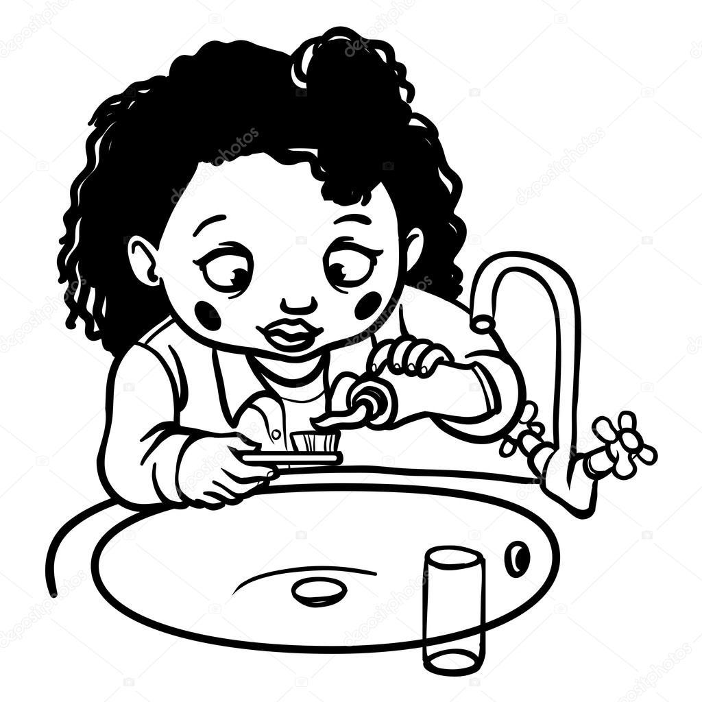 Niña Cepillando Dientes Para Colorear Niña De Divertidos Dibujos