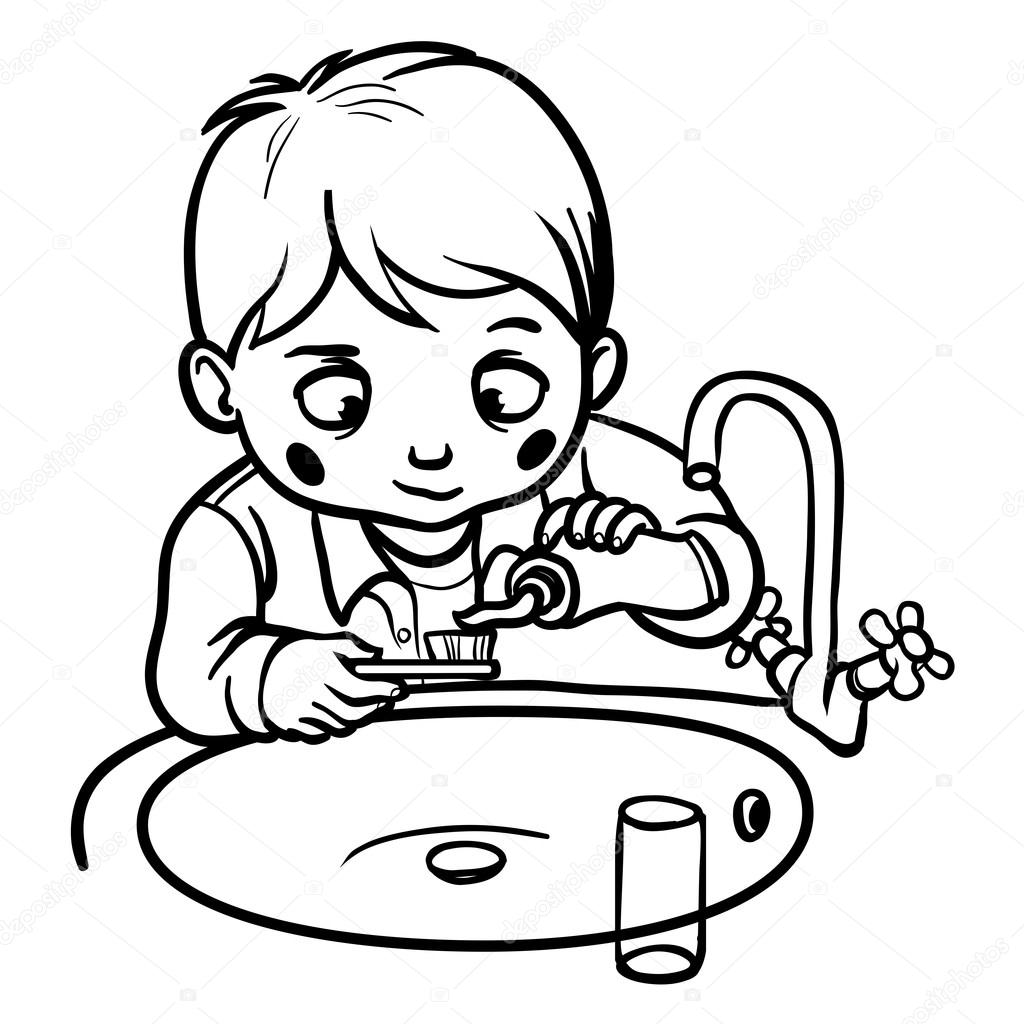 boy brushing teeth coloring pages - photo#14