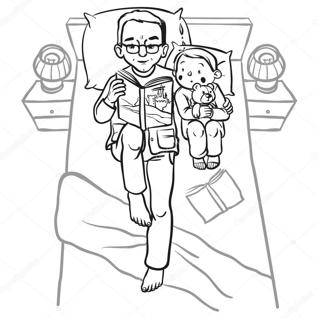 Funny cartoon father reading book for his child. vector ...