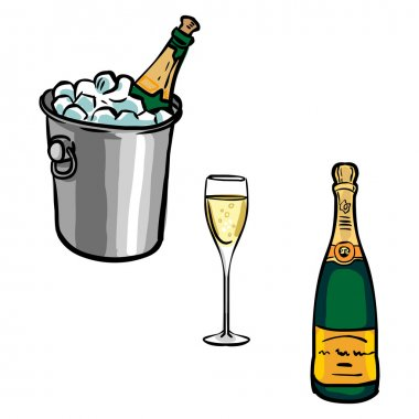 Vector set of  champagne bottles with glasses and Champagne buck