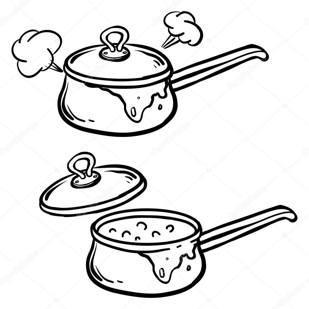 рисунок кастрюльки и поварешки весело