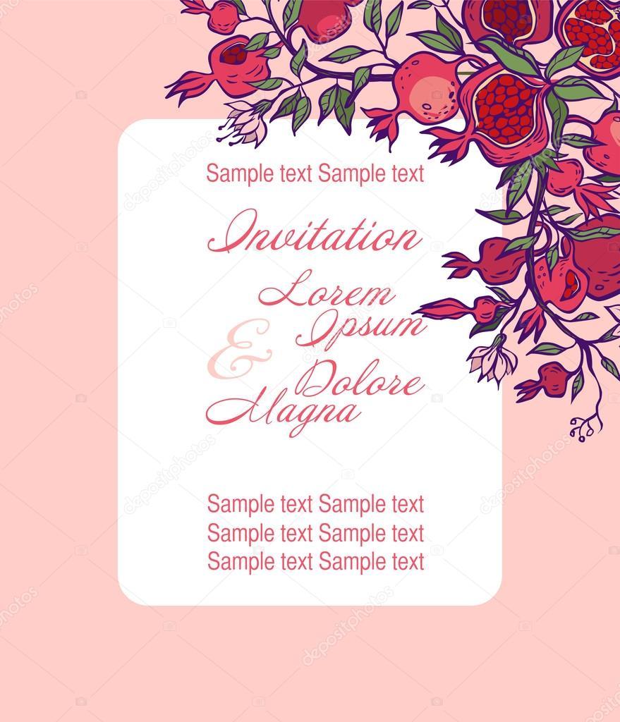 Wedding invitation card suite with pomgranates vector illustrat wedding invitation card suite with pomgranates vector illustrat vetor de stock stopboris Choice Image