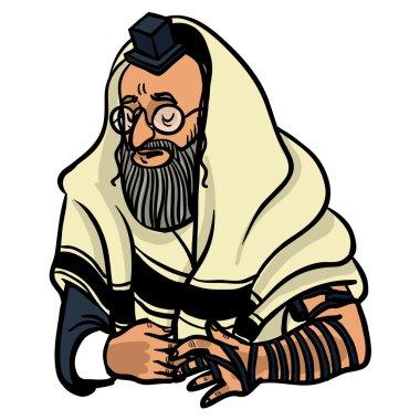 Jewish man praying and put on tfilin. vector illustration stock vector