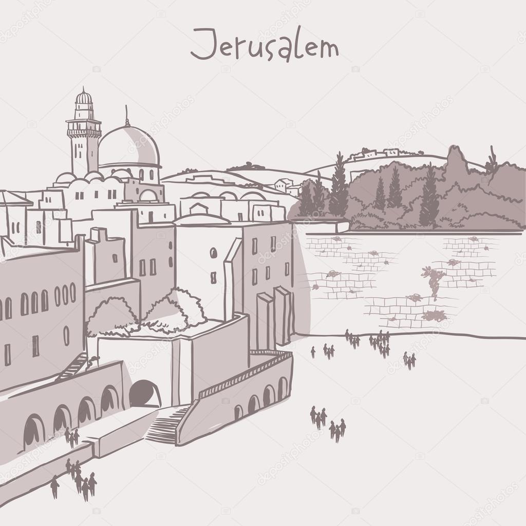 Line Drawing Jerusalem : Orizzonte della città vecchia di gerusalemme israele