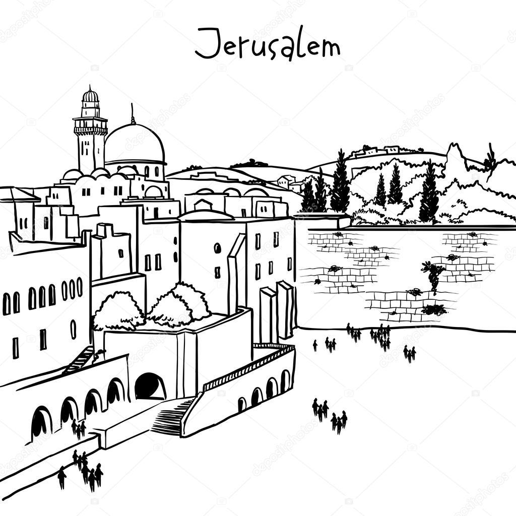 Line Art Jerusalem : Jerusalem israel old city skyline — stock vector
