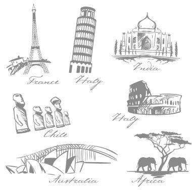 countries symbols sketch