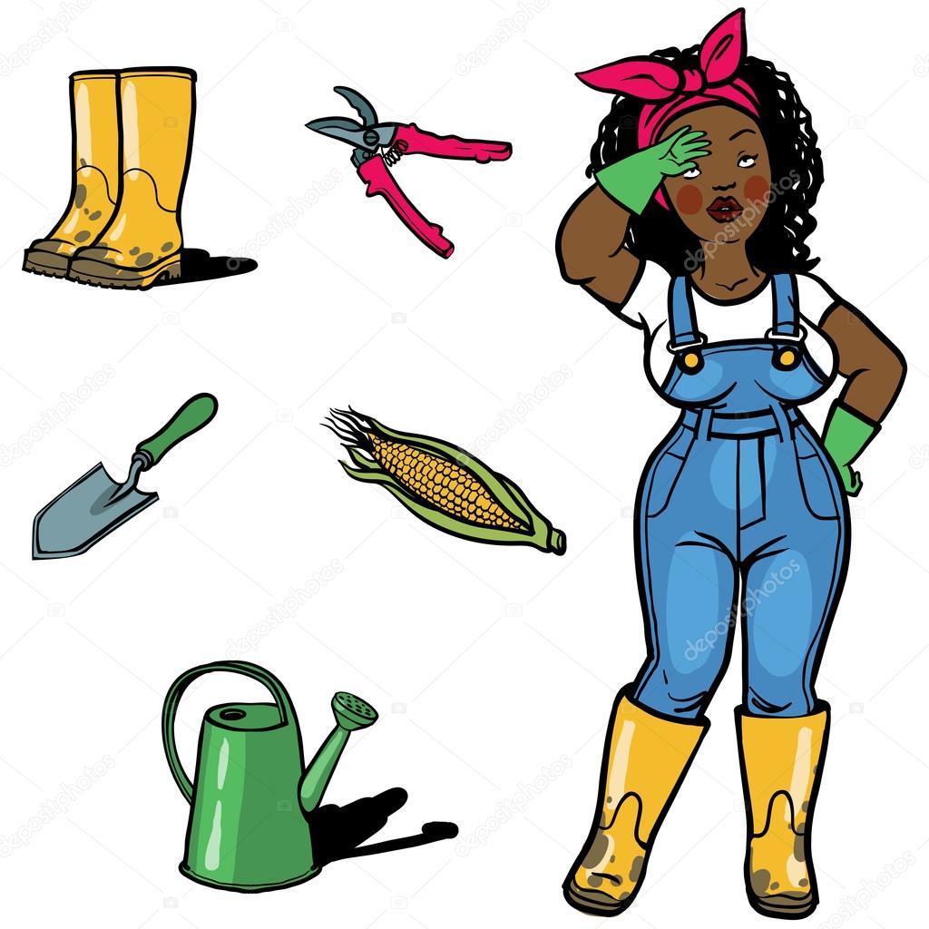 funny cartton gardener and gardens tools