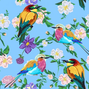 vintage pattern with birds and flowers