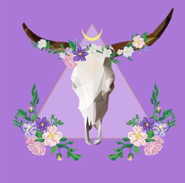 Polygonal Bull skull with flowers