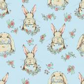 Fotografie cute bunnies seamless pattern