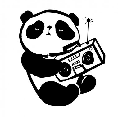 panda with a tape recorder