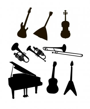 silhouette musical instruments