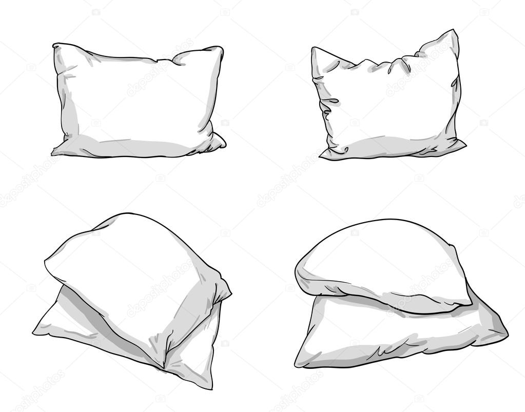 sketch of bed pillows — Stock Vector © AlsouSh #123359922