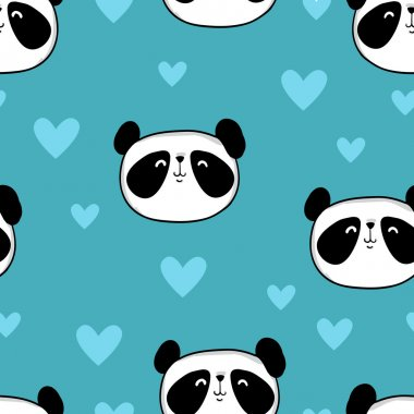 pandas with hearts background