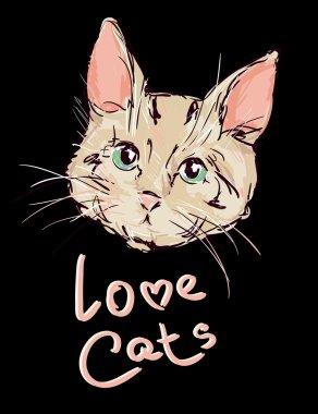"Картина, постер, плакат, фотообои "" симпатичная кошачья голова "", артикул 123368052"