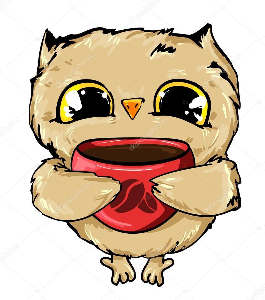 owl drinking coffee stock vector alsoush 123367796 rh depositphotos com Coffee Fellowship Clip Art Group Drinking Coffee