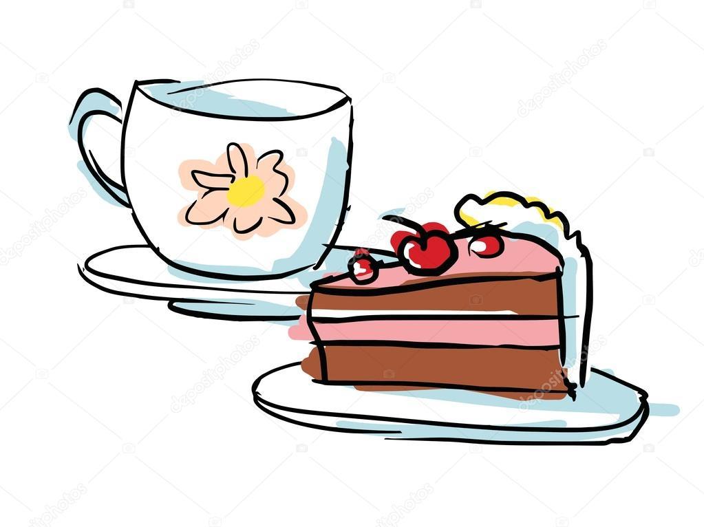 Dessert kopje thee en chocolade taart — Stockvector ...